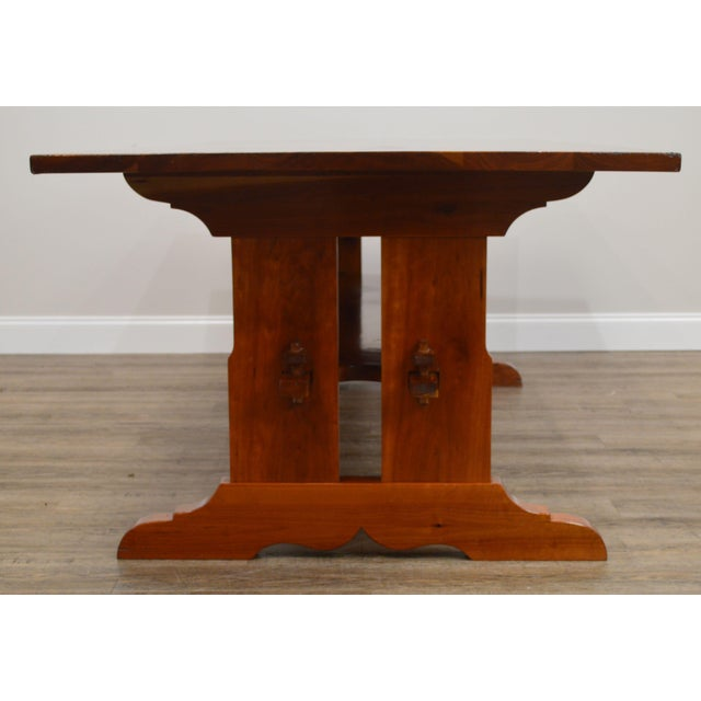 1950s Arts & Crafts Style Custom Quality Cherry Trestle Dining Table For Sale - Image 5 of 13