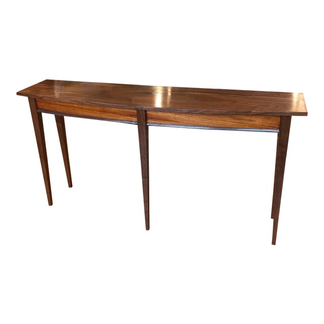 Handcrafted Walnut Curved Console Table For Sale