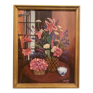 Original Floral Still Life Chinoiserie Oil Painting For Sale