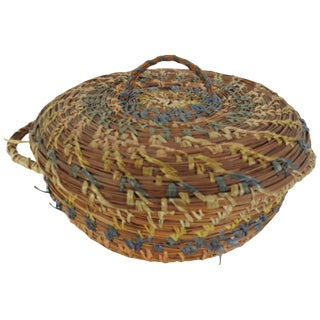 Vintage Chinese Round Pine Needle Basket For Sale