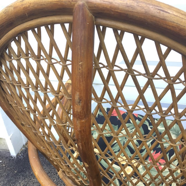 Rattan Vintage Modern Bamboo & Rattan High Back Chairs For Sale - Image 7 of 11