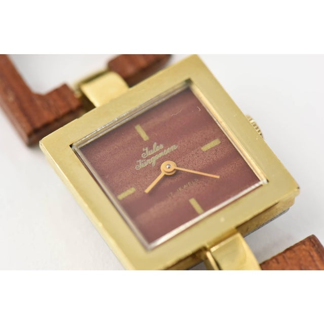 Jules Jurgensen Ladies Gold Plate Wood Mechanical Wristwatch For Sale In Miami - Image 6 of 10