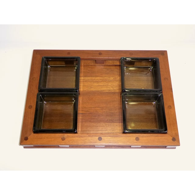 Dansk IHQ Modern Teak Tray with Glass Inserts, Quistgaard, Denmark For Sale In Miami - Image 6 of 13