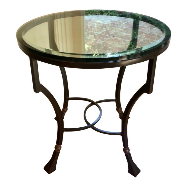 Kreiss Luxury Home Iron & Glass Palomino Side End Occasional Table For Sale
