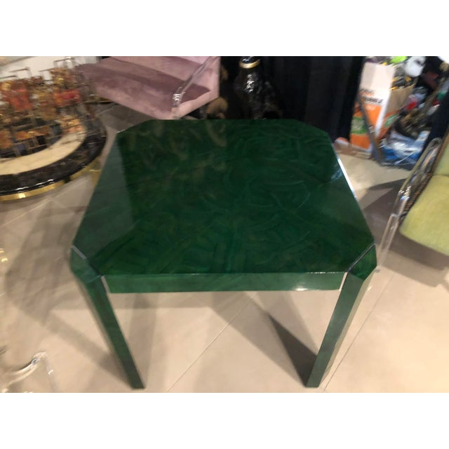 Vintage Hollywood Regency Faux Malachite Chrome Game Dining Table For Sale - Image 10 of 13