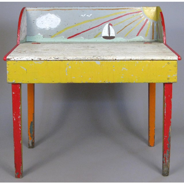 A very charming antique 19th century slant front pine desk found in Cape Cod, MA. Entirely hand painted in colors of red,...