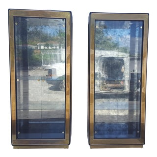 Mastercraft Grand Rapids Brass & Glass Curio / Display Cabinets - A Pair