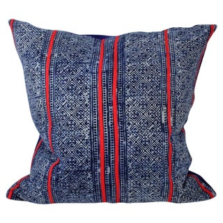 Hmong Red Stitch Batik Handmade Pillow Cover For Sale