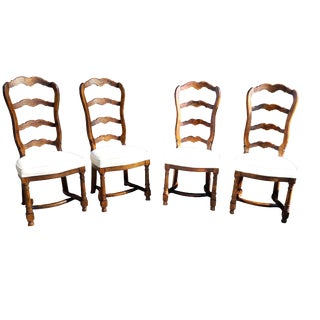 French Provincial Ladder Back Chairs Set of 4 Cushioned French Country Farmhouse Dining Chiars 4 For Sale