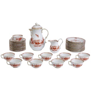 19th Century Victorian Meissen Red Indian Painting Dessert Porcelain Set - 34 Pieces