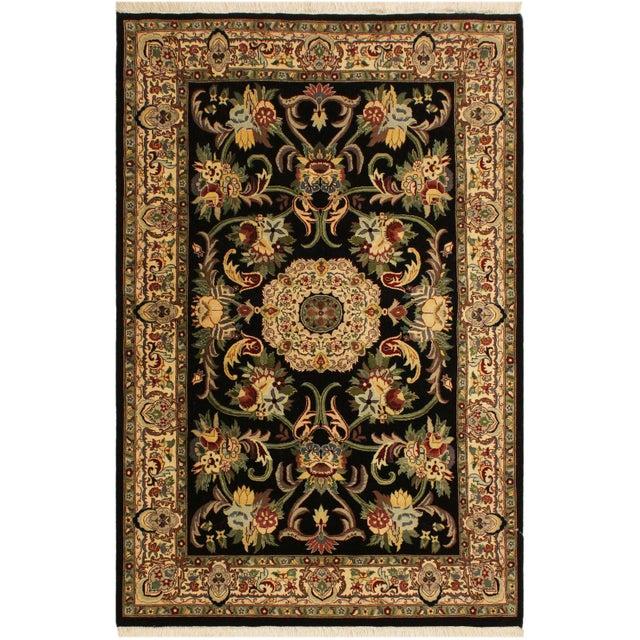 Green Anarkali Pak-Persian Virgil Black/Ivory Wool Rug - 4'2 X 6'2 For Sale - Image 8 of 8
