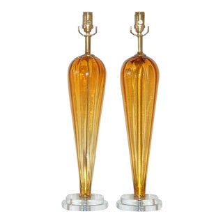 Vintage Murano Glass Teardrop Lamps Gold For Sale