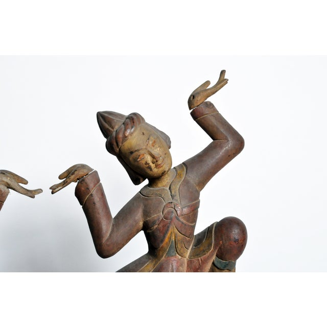 Hand-Carved Thai Dancers For Sale In Chicago - Image 6 of 11