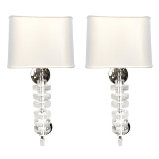 Pair of 1970s Lucite and Chrome Wall Sconces For Sale