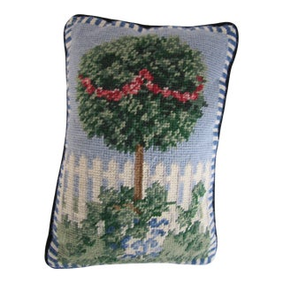 Small Needlepoint Throw Pillow of a Topiary in a Chinoiserie Pot For Sale
