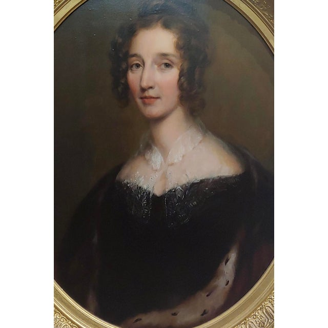 "Portraiture George Healy ""Portrait of a Beautiful Aristocratic Lady"" Oil Painting, 19th Century For Sale - Image 3 of 8"