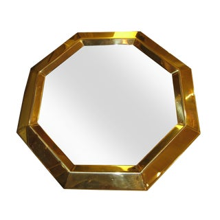 Vintage Modern Brass Octagon Mirror For Sale