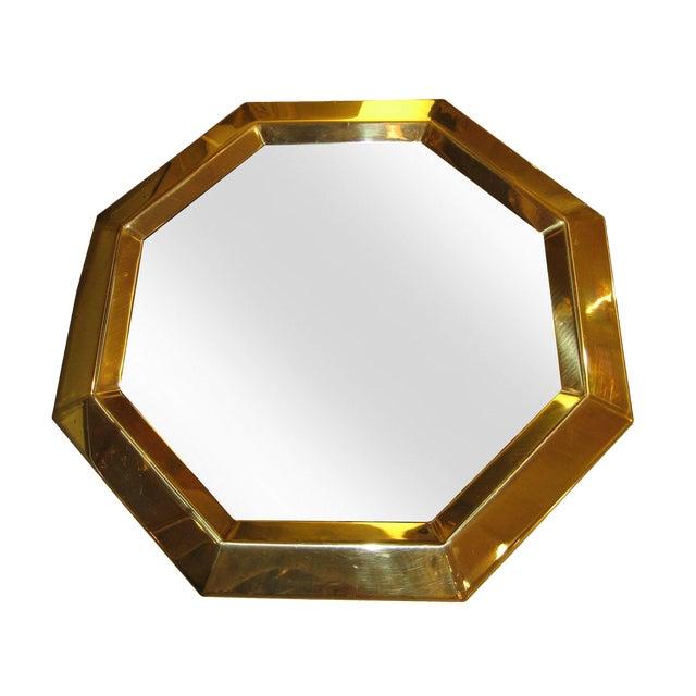 Vintage Modern Brass Octagon Mirror - Image 1 of 3