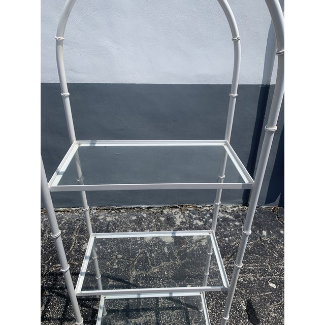 1980s Vintage Chinoiserie Faux Rattan Etagere With Glass Shelves For Sale - Image 5 of 7