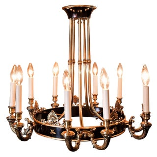 Hollywood Regency 10-Light Brass Chandelier, France, Circa 1940 For Sale