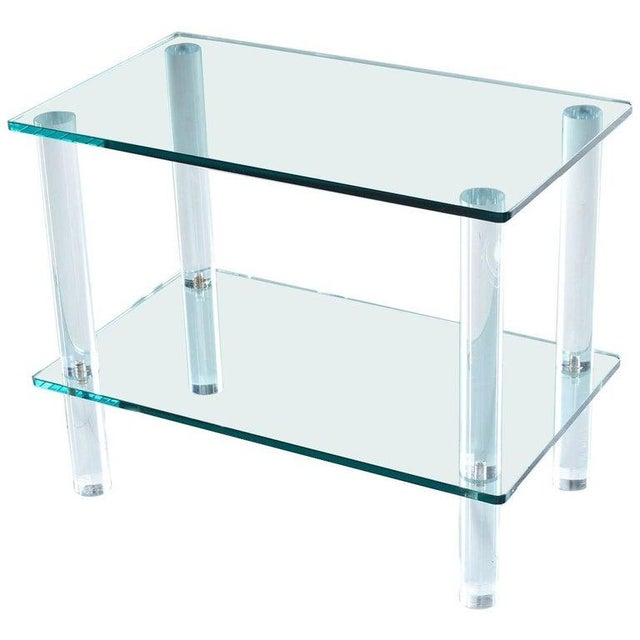Acrylic Leon Rosen for Pace Collection Style Lucite Screw Leg and Glass Cocktail Table For Sale - Image 7 of 7