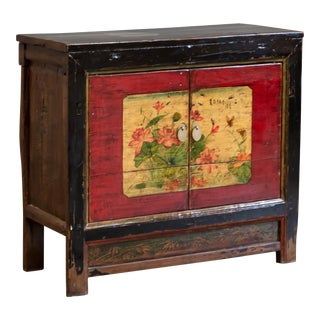Antique Painted Chinese Cabinet For Sale