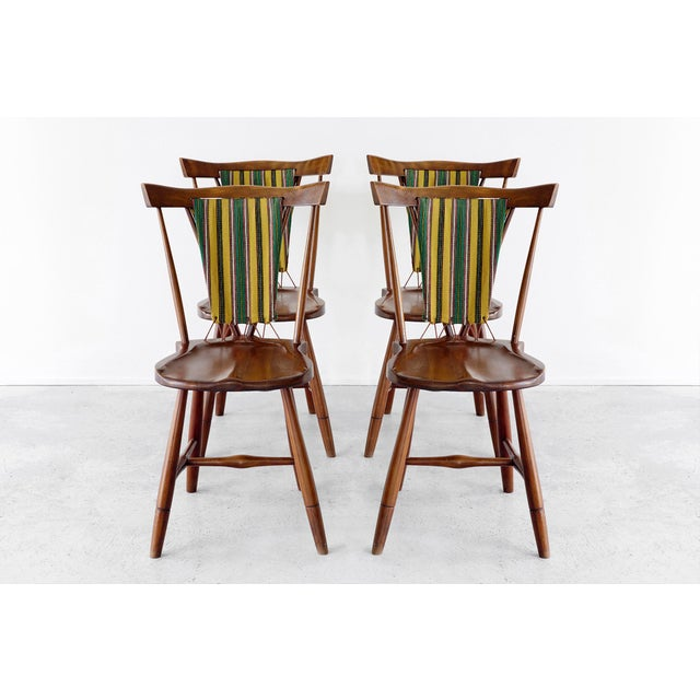 Rare set of Danish Eva & Niles Koppel for Slagelse Mobelvaerk chairs, circa 1947. Original upholstery and cord mix with...