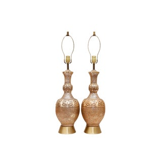 Hollywood Regency Brass Table Lamps - a Pair For Sale