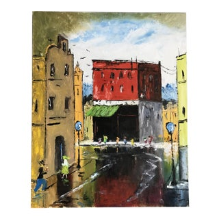 Vintage Original Street Scene Painting For Sale