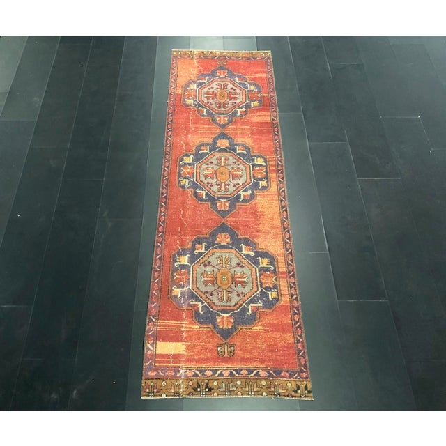 Boho Decorative Orange and Purple Turkish Handmade Vintage Runner Rug For Sale - Image 11 of 11