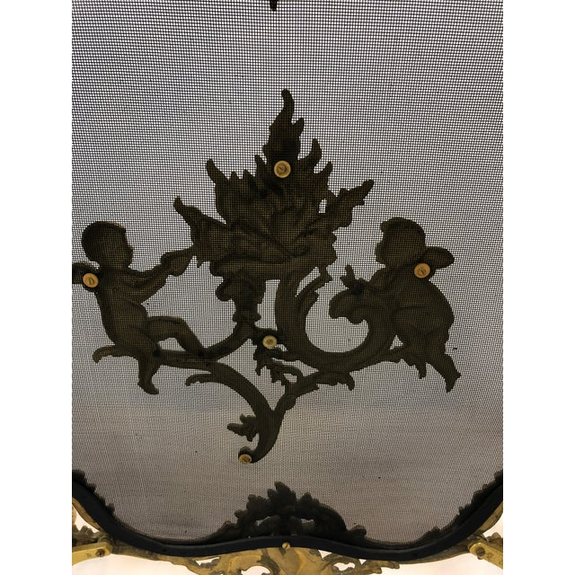Bronze Dore Fireplace Screen With Putti, 1950s For Sale - Image 10 of 11