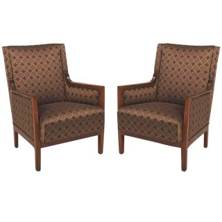 Danish 1920s Mahogany Bergere Chairs - a Pair