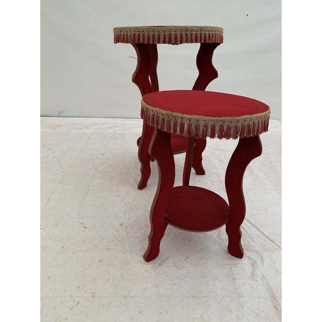 1970s 1970s Hollywood Regency Red Fringe Tables - a Pair For Sale - Image 5 of 8