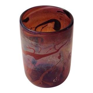 Vintage Peter Vanderlaan Art Glass Vase Signed For Sale