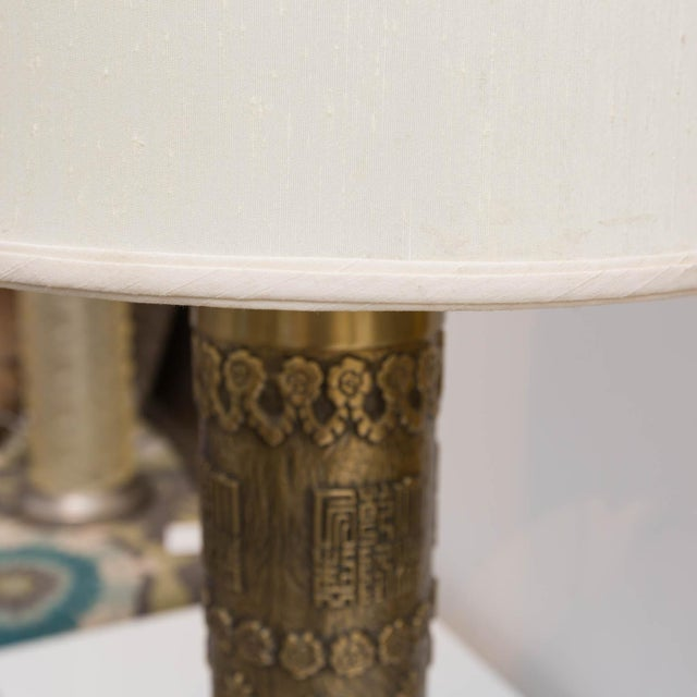 Mid-Century Brass Archaic Style Table Lamps - a Pair - Image 6 of 7