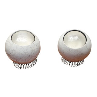 Mid-Century Eyeball White Table Lamps - A Pair For Sale