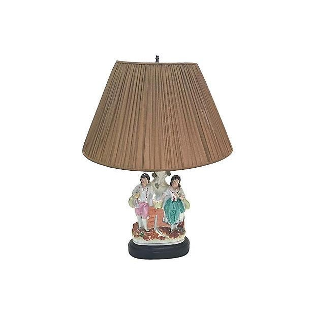 Traditional Antique Jack & Jill Staffordshire Lamp For Sale - Image 3 of 7