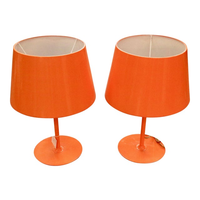 Vintage Orange Lamps - A Pair - Image 1 of 5