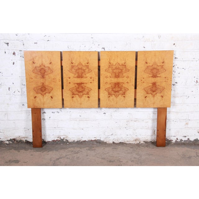 Milo Baughman Style Mid-Century Modern Burl Wood Queen Size Headboard For Sale In South Bend - Image 6 of 6
