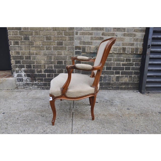 Vintage French Taupe Velvet Walnut Louis XV Rococo Style Armchair Fauteuil For Sale In New York - Image 6 of 12