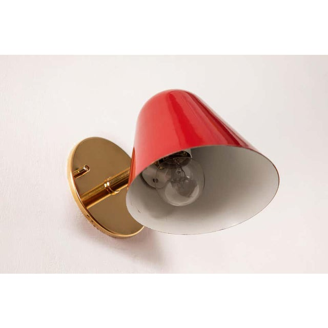 Red 1950s Jacques Biny Red Wall Lights - a Pair For Sale - Image 8 of 13