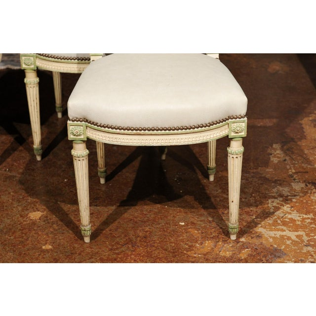 Set of Eight French Louis XVI Style Painted Dining Chairs with New Upholstery For Sale - Image 9 of 13