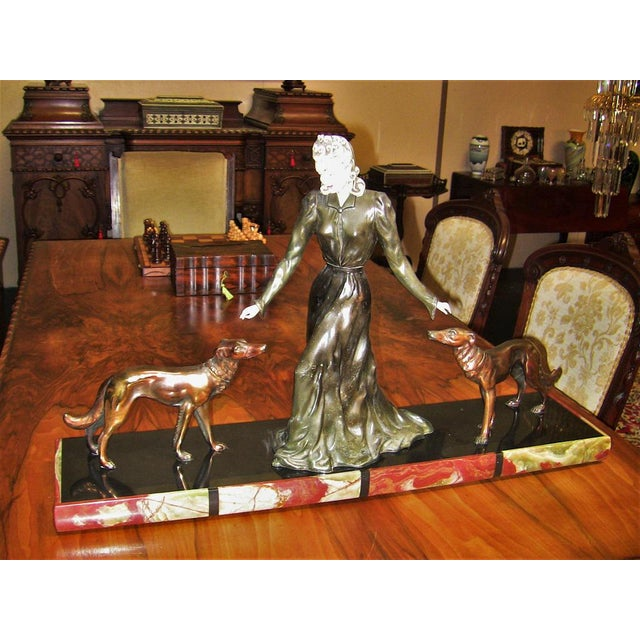 Large Art Deco Sculpture of Bronze Lady With Dogs on Marble Base - Impressive and Important For Sale - Image 10 of 11