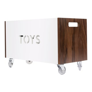 Toy Box Chest on Casters in Walnut With White Finish For Sale