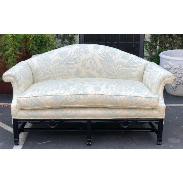Lacquer Antique Chinese Chippendale Camelback Sofa Settee W Black Lacquer & Down Cushion For Sale - Image 7 of 7