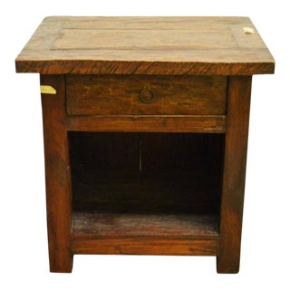 Antique 19th Century Javanese Rustic Bedside Table with Drawer and Storage