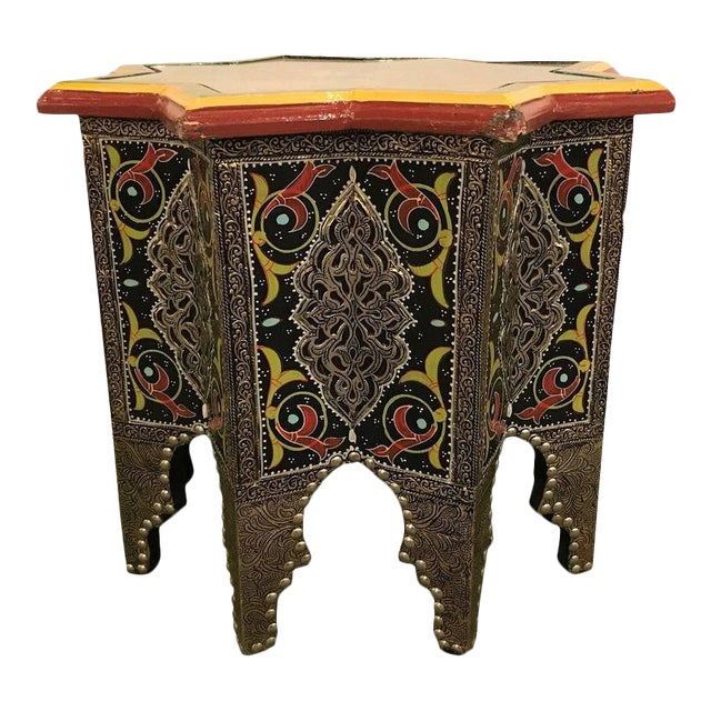 Star-Shaped End Table or Footstool With Ebony Inlays For Sale