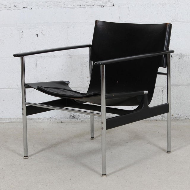 Animal Skin Leather & Chrome Sling Chair, #657, by Charles Pollack for Knoll For Sale - Image 7 of 10