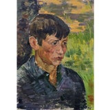 Image of Vintage Male Portrait Oil Painting on Board 1970's For Sale
