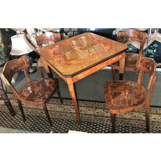 Italian Inlaid Wood Game Table & Chairs Preview